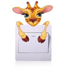 Cute Giraffe Head Switch Stickers Outlets Living Room Decoration Cartoon Animals Mural Art Home Decals Poster Children Kids Gift