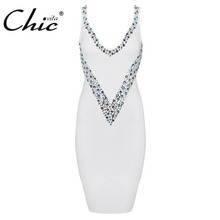 Buy CHIC VITA 2017 New Women Sexy Deep V Elastic Beading Bandage Dress Bodycon Sheath Party Club Summer Lady Mini Dresses Sundress for $8.32 in AliExpress store