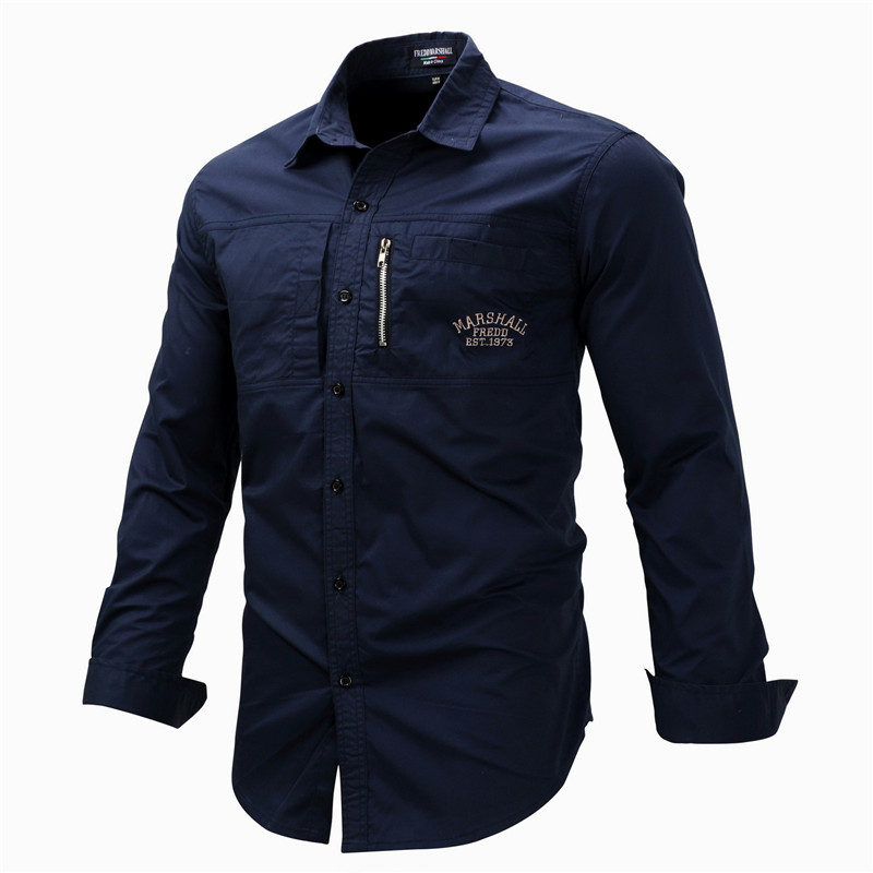 Fredd Marshall Fashion Men's Shirts Spring Cotton Solid Color Long Sleeve Male Shirt with Zipper Pockets Camisa Masculina Plus Size (9)