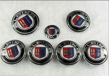 7pcs New Car Styling ALPINA Front Hood Boot Rear Badge Emblem wheel caps steering wheel badge 82MM 73MM 68MM 45MM