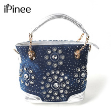 iPinee Top brand name leisure women shoulder bag designer crystal diamond demin  bags handbags