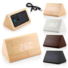Triangle  Wooden Clock Voice Control LED Digital alarm clock Desk Snooze Electronic table Watch Nixie Wood Bedside Alarm Clock