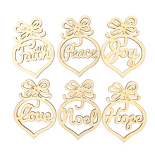 6pcs Wooden MDF Faith Noel Tags Christmas Party Decoration Scrapbooking(China)