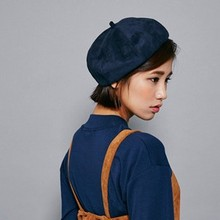 20167119 women  winter suede feeling solid color Painter cap