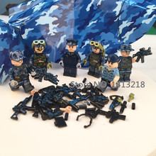 6pcs Paratrooper WW2 Parachute Army Military Soldier SWAT Navy Seals Weapon Building Blocks Bricks Figures Boy Toy Gift Children(China)