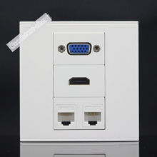 Wall Plate 4 Ports Dual Network Lan RJ45 CAT5e & One Port VGA Jack & HDMI Socket Panel Faceplate Wholesale Lots Home Electronic(China)