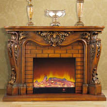 deluxe fireplace set W165cm European style wooden mantel plus electric fireplace insert burner artificial LED optical flame