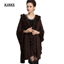 XJXKS womens ponchos shawl cardigan sweater womens capes big yards loose bat sweater autumn/winter womens capes and ponchoes(China)