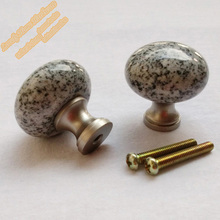 Free Shipping Bedroom Furniture Knob Handles,32mm Mushroom Style Granite Knobs,Perfect Match w/ White Black Cabinets and Drawers(China)