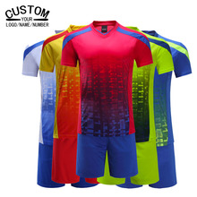 Custom name logo Soccer Jersey 2016 2017 Set Football Kits Youth Boys Futbol Breathable jerseys Tracksuits maillot de foot