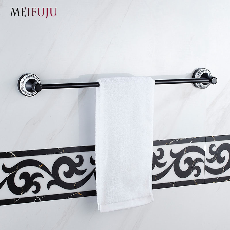 Blue and white porcelain with Ceramic bathroom accessories Products Black Single Towel Bars Hotel Towel rack Hardware Sets Bath <br>
