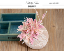 Pink Flower Hat Style Bride Headdress Lace Mesh Sen Female Flax Retro Hairpin Hair Ornaments(China)