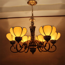 European Vintage Glass Pendant Light Artistic Tiffany Bar Cafe Lamp Restaurant Pendant Light Yellow Shape 6 Lights(China)