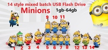 14 style mixed batch of Minions usb flash drive 4gb 8gb 16gb 32gb flash disk Pendrive PVC Cartoon usb memory stick 100pcs/lot(China)