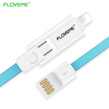 FLOVEME Combo Micro USB Cable 2.1A Fast Mobile Phone Lightning to USB Charger Data Cable for iPhone 6 iPad Air iPod
