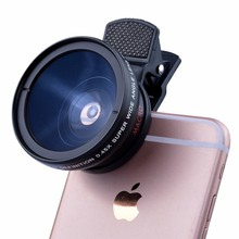 2in1 Professional 0.45X Wide Angle 12.5X Macro Lens With Clips For iphone 4 4s 5 5s 5c SE 6 6s 7 Plus Cell Phone Camera Lenses