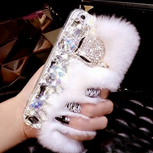 Luxury Big Rhinestone diamond Real rabbit fur hard cover case For iphone4s 5s 6/6plus 7/7plus bling Case(China)