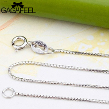 GAGAFEEL 100% Genuine 925 Sterling Silver Chain Fashion Men Women Jewelry Thin Box Chains Necklaces Fits Pendants Charms NL004