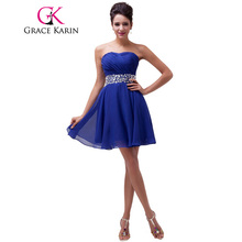 Grace Karin Navy Blue Prom dress 2017 Strapless Red Knee Length Crystals Chiffon Wedding Party Formal Short Bridesmaid Dresses