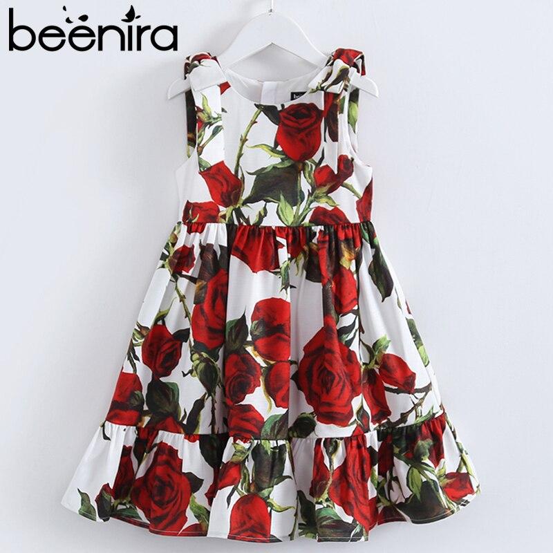 Beenira Girls Dresses 2018 Children Girls Sleeveless Rose Dresses Floral Printed Princess Dress Children 4-14Years Kids Clothes<br>