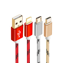 Nylon Braided Micro USB USB/Type C Cable Charging Sync Data USB Cable 25cm/1m/2m for Lighting Iphone 7 6 5s Samsung galaxy S8