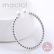 Open Bangle Original 925 Sterling Silver beads with Imitation Pearls Bangle Trendy Women Jewelry Hot Sale DL120