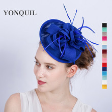 2017 New arrival 15Colors feather headbands women headband wedding fascinator party church cocktail hats hair accessories SYF171(China)