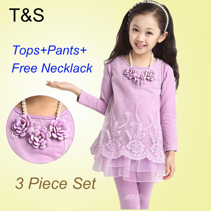 Girl Dress 2015 Christmas Long Sleeve Lace Tops+Leggings+Necklace Kids Girl Party Dress Age 4-14 Girls Winter Dress 017<br><br>Aliexpress