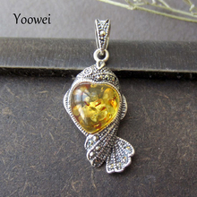 Yoowei Authentic Baltic Amber Heart Pendant with Sterling Silver 925 Natural Amber Rhinestones Heart Shape Pendant Women Jewelry(China)