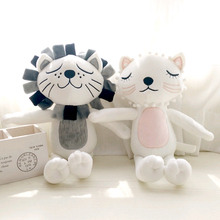 Kawaii Baby Toys Plush Sweet Cute Stuffed Brinquedos Comforter Toy Cat Lion Pillow Calm Doll Toys for Children Kids Christmas(China)