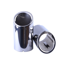 Hot 1 Pair Car Muffler Exhaust Pipe Tips Stainless Steel Rear Round Muffler Tail Tip For Audi A4 A5 Q5 Free Shipping