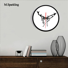 M.Sparkling large digital wall clock 11 INCH Nordic style diy creative elk black and white acrylic mute fashion wall clock()