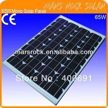 65W 18V Mono Crystalline Silicon PV Solar Module for Solar System with CE, TUV, RoHS, UL, ISO Certificates, Promotion!!!