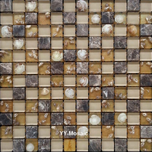 New Arrival Natural Cafe Stone Shell Resin Glass Mosaic Tiles for kitchen backsplash living room backdrop waist line Wallpaper(China)