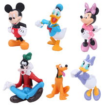 Disney Toys Mickey Mouse Clubhouse Action Figure Toys Cute Mini Mickey & Minnie& Pluto & Donald Duck PVC Collection Dolls