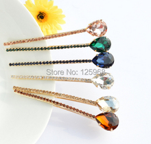 Free Shipping!New Hot Colorful Rhinestone Teardrop Hair Barrettes Hairclips For Women/Girls Elegant Barrettes Hair Accessory