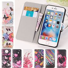 Flip Leather Wallet Case Butterfly Flower Man Woman Book Style Soft Shell Cover For apple iphone 4 4s 5 5s SE 5SE 5C 6 6s 7 Plus