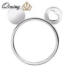 QIMING New Silver Jewelry Mickey Heart Ears Knuckle Ring Mouse Knuckle Ring Anel Feminino Boho Anel De Formatura Wholesale Bague(Hong Kong)