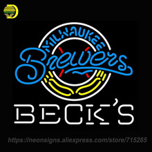 Neon Sign for Becks Milwaukee Brewers Display Handcrafted Neon Sign Lights Store Advertise Neon Bulb Sign Signboards Art lamps(China)