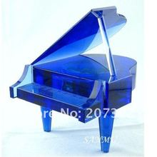 Free Shipping DIY Blue Crystal Glass Piano With Image130*140*100mm Nice crystal Wedding Gifts for Valentine's Day Gifts