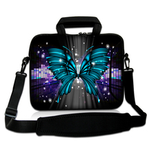 "10""13""14""15""17""Crystal Butterfly Pattern Laptop Portable Carring Sling Bag Neoprene Netbook Handle Shoulder Pouch For Apple IBM(China)"