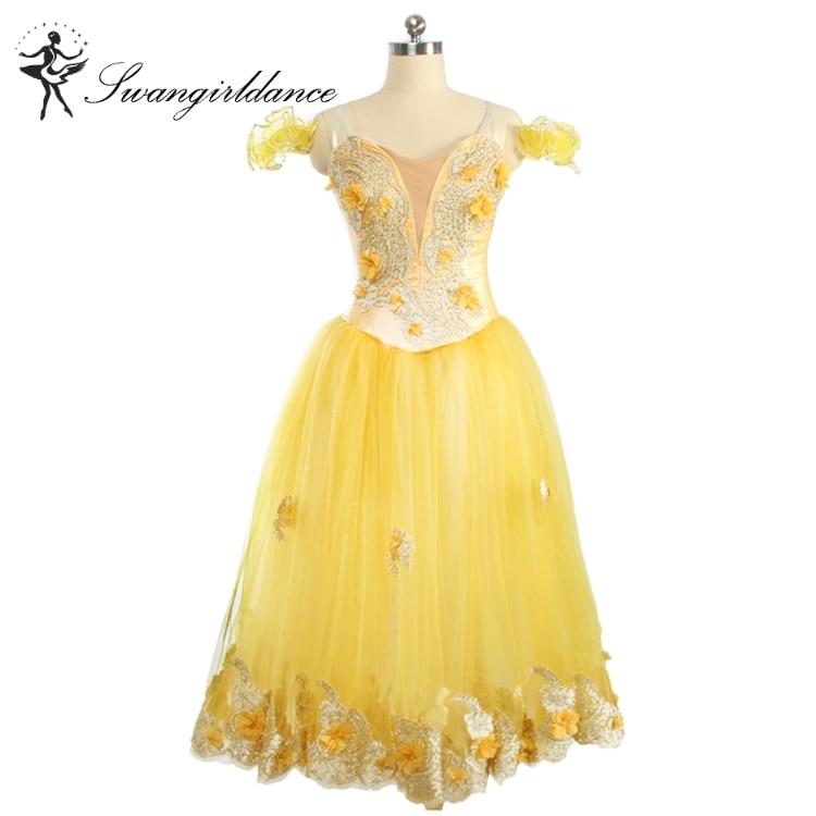 Girls women adult long tutu floral yellow classical fairy romantic tutu dress stage ballet tutu costumes BT9167