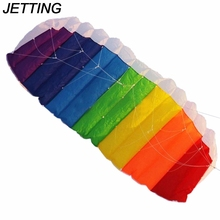 JETTING 1Pcs High Quality Nylon Flying Lines Power Dual Line Stunt Parafoil Parachute Rainbow Nice Beach Kite with 2pcs 30m