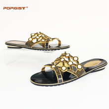 Anti-Slip PU Leather Black Gold 2017Hot Sale Fashion low Heels Shoes And Bag Set Summer Style Woman Shoes And Bag Set For Party(China)
