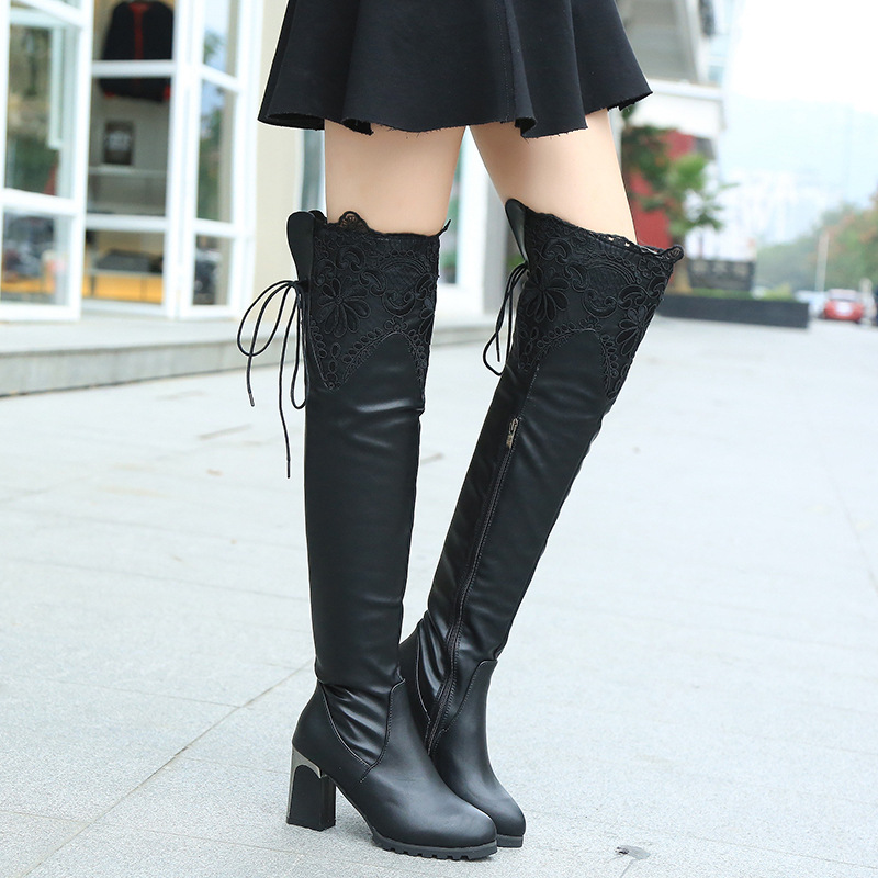 Solid Women Boots Fashion New Lace Over-the-Knee High Heels Boots Casual Pointed Toe Tall Boots Wild Zipper Women Shoes ST940<br><br>Aliexpress