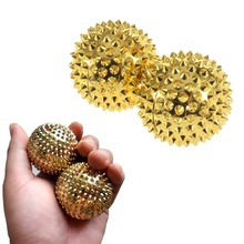 1 Pair Golden Massage Hand Ball Body Acupressure Magnetic Spiky Massage Acupuncture Pain Ball