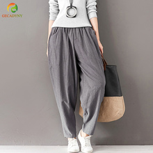 Fashion Solid Harem Pants Women Cross-Pants Vintage Full Length Large Size Pants Loose Casual Cotton Linen Women Trousers Girls(China)