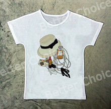 Track Ship+Vintage Retro T-shirt Top Tee Fresh Journey with Knot Hat Perfume 0869