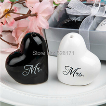 "Free Shipping ""Mr & Mrs"" White And Black Hearts Ceramic Salt and Pepper Shakers Wedding Favor (Set of 12 boxes) Wedding Gifts"