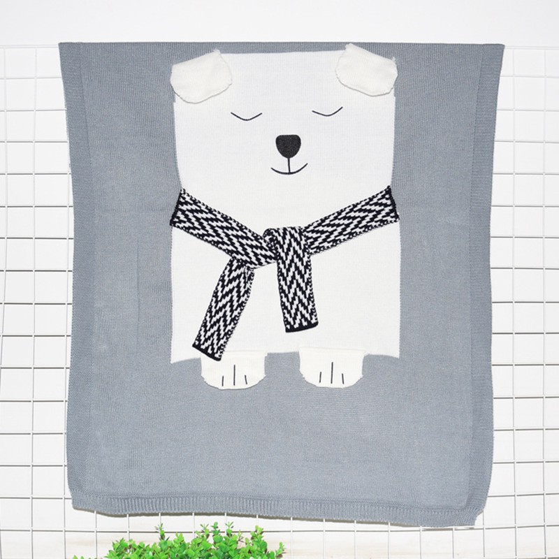 MOTOHOOD Cute Bear Cotton Baby Blankets Newborn Fashion Knitted Muslin Swaddle Wrap Baby Decoration Room Photography Accessories (4)
